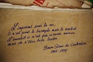Valeurs du sport : Citation Baron Pierre de Courbertin