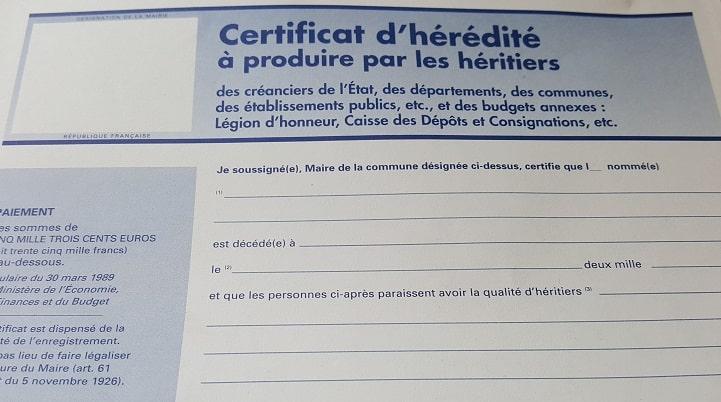 Certificat d'hérédité