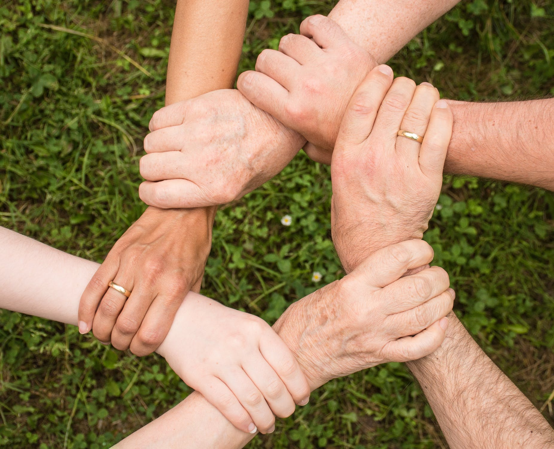 Une succession de 5 mains qui se croisent sur un fond d'herbe. A quel âge doit on préparer sa succession?