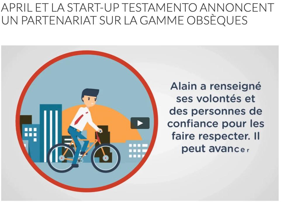 APRIL et la start-up Testamento annoncent un partenariat sur la gamme Obsèques