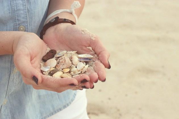 creux de mains avec coquillages